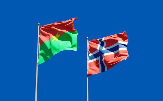 Drapeaux de la norvège et du burkina faso.