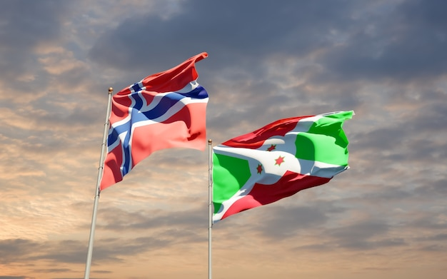 Drapeaux de la norvège et du burundi.