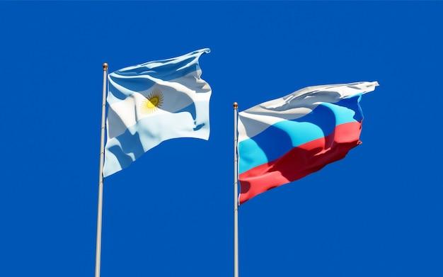 Drapeaux de la nouvelle-argentine et de l'argentine. illustration 3d