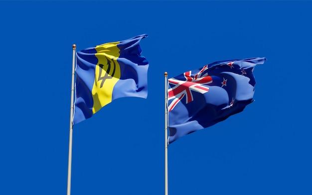 Drapeaux de la nouvelle-zélande et de la barbade. illustration 3d