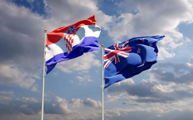 Drapeaux de la nouvelle-zélande et de la croatie.
