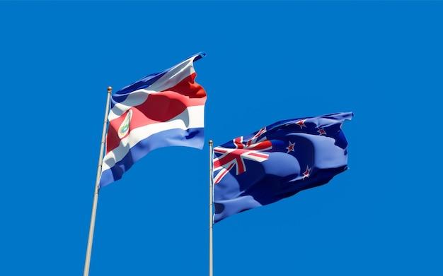 Drapeaux de la nouvelle-zélande et du costa rica.