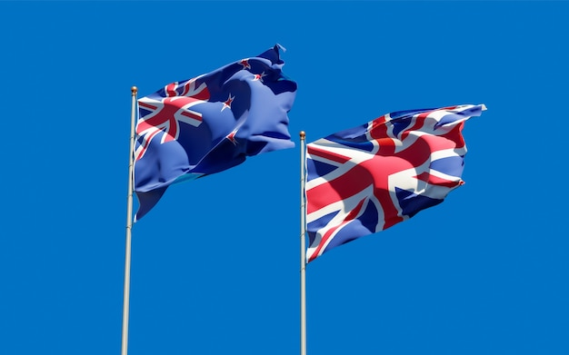 Drapeaux de la nouvelle-zélande et de la nouvelle-zélande