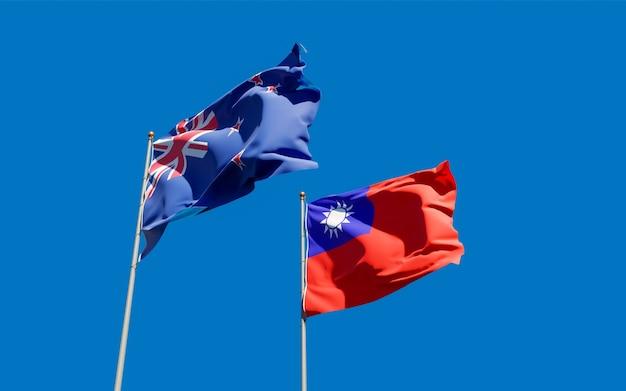Drapeaux de la nouvelle-zélande et de taiwan.