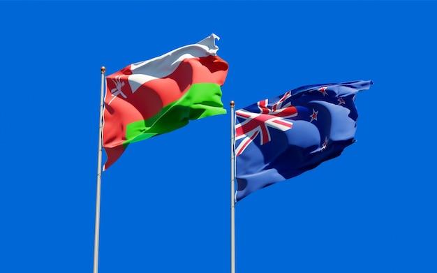 Drapeaux d'oman et de nouvelle-zélande