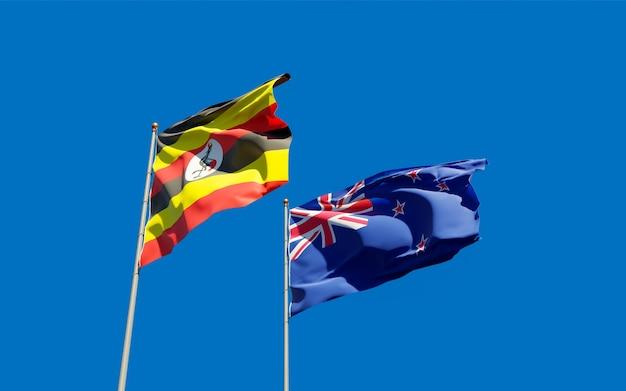 Drapeaux de l'ouganda et de la nouvelle-zélande