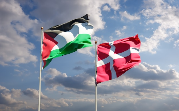 Drapeaux de la palestine et du danemark.