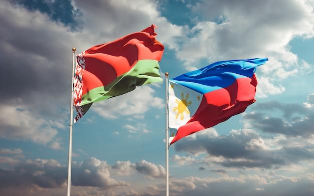 Drapeaux des philippines et de la biélorussie. illustration 3d