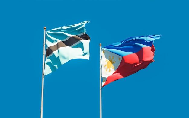Drapeaux des philippines et du botswana. illustration 3d