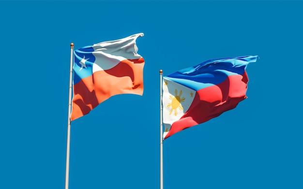 Drapeaux des philippines et du chili. illustration 3d
