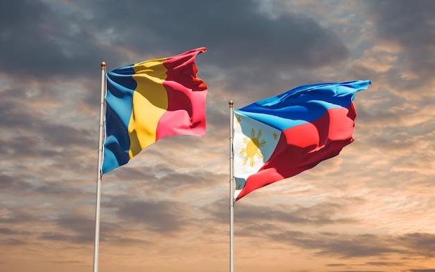 Drapeaux des philippines et du tchad. illustration 3d