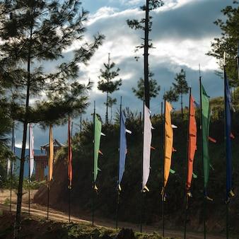 Drapeaux de prière au bord de la route, paro, district de paro, vallée de paro, bhoutan