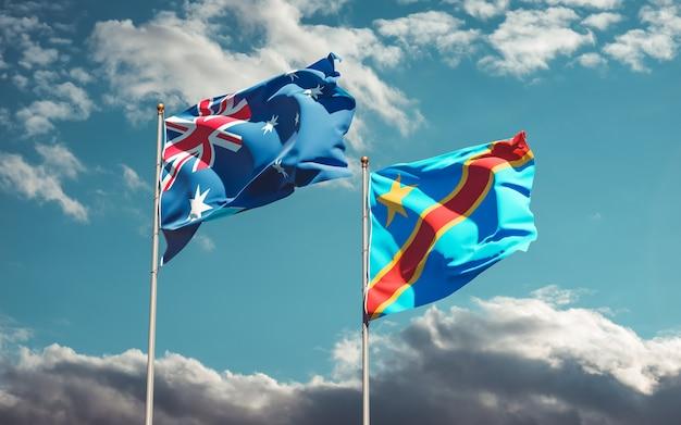 Drapeaux de la rd congo et de l'australie. illustration 3d