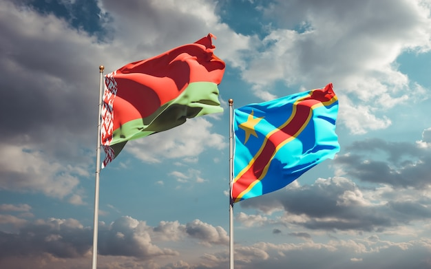 Drapeaux de la rd congo et de la biélorussie. illustration 3d