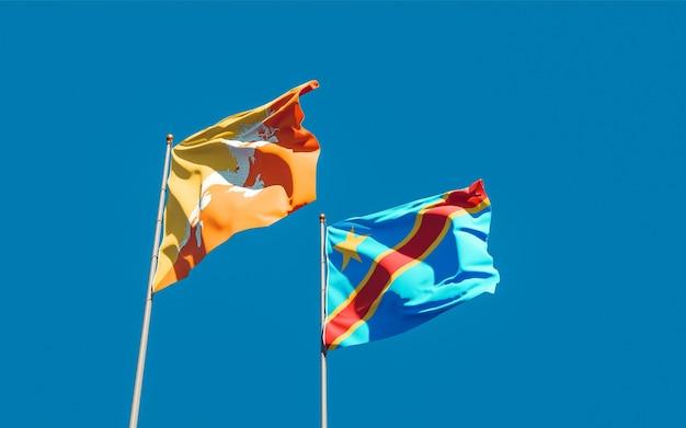 Drapeaux de la rd congo et du bhoutan. illustration 3d