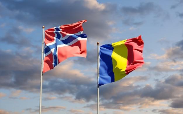 Drapeaux de la roumanie et de la norvège. illustration 3d