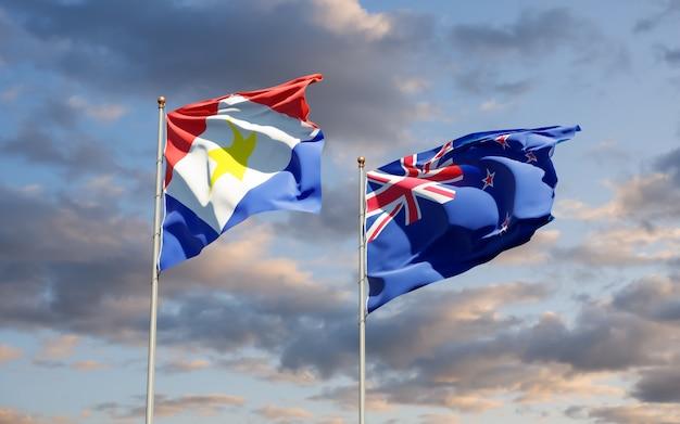 Drapeaux de saba et de nouvelle-zélande