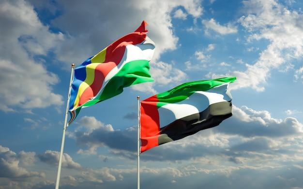 Drapeaux des seychelles et des emirats arabes unis