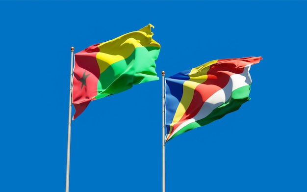 Drapeaux des seychelles et de la guinée-bissau sur fond de ciel