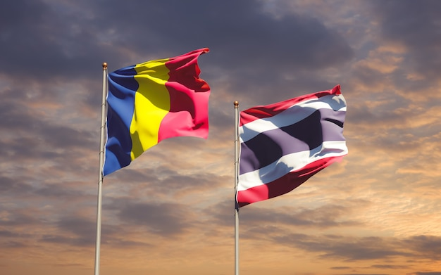 Drapeaux de la thaïlande et du tchad. illustration 3d