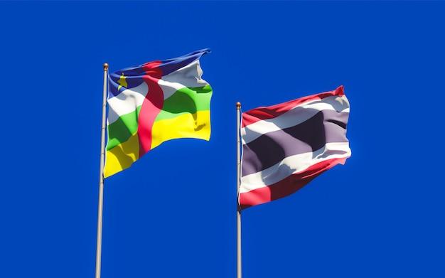 Drapeaux de la thaïlande et de la rca république centrafricaine. illustration 3d