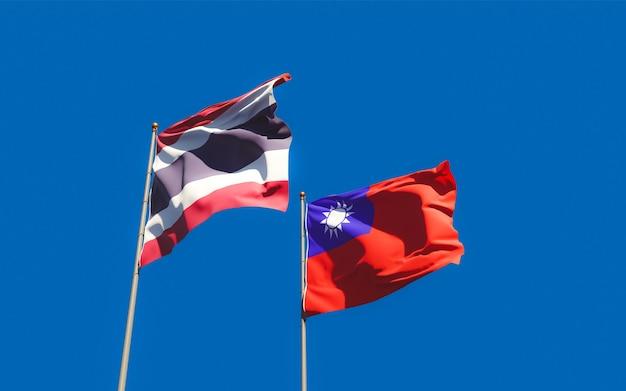 Drapeaux de la thaïlande et de taiwan. illustration 3d