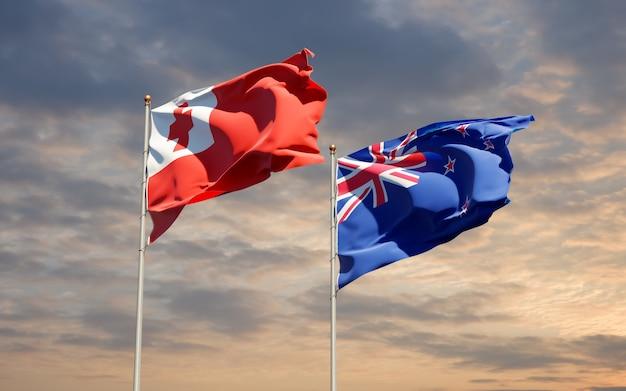 Drapeaux des tonga et de la nouvelle-zélande