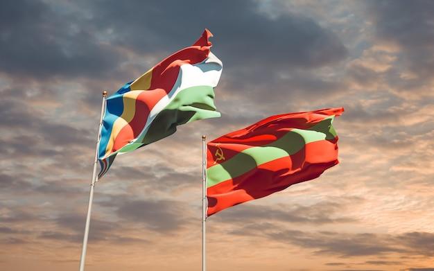 Drapeaux de la transnistrie et des seychelles. illustration 3d