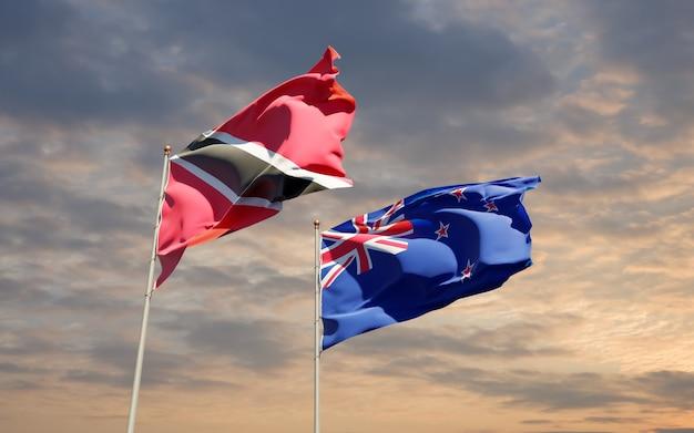 Drapeaux de trinité-et-tobago et de nouvelle-zélande