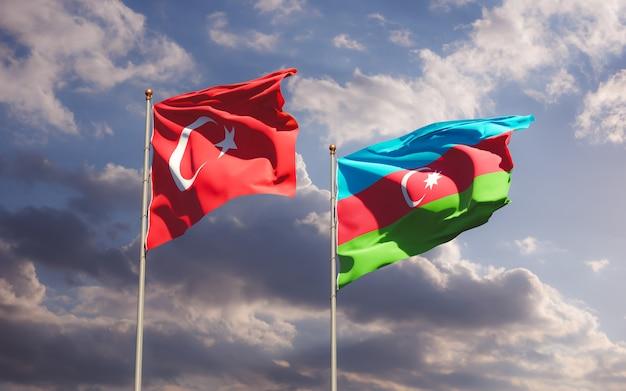 Drapeaux de la turquie et de l'azerbaïdjan. illustration 3d