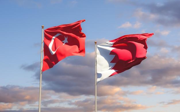 Drapeaux de la turquie et de bahreïn. illustration 3d