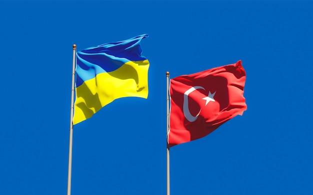 Drapeaux de l'ukraine et de la turquie. illustration 3d