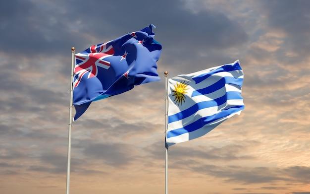 Drapeaux de l'uruguay et de la nouvelle-zélande