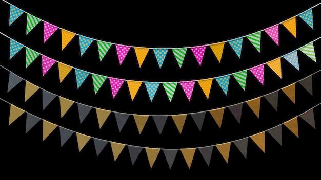 Drapeaux de vacances de rendu 3d accroché à une corde sur fond noir