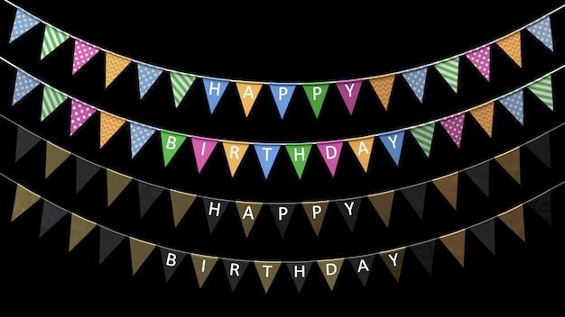 Drapeaux de vacances de rendu 3d avec l'inscription joyeux anniversaire suspendu à une corde sur fond noir