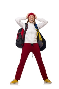 Drôle étudiant avec sac à dos isolé sur blanc