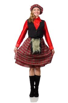 Drôle femme en vêtements écossais sur blanc