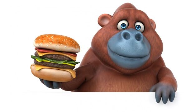 Drôle personnage de gorille 3d tenant un hamburger