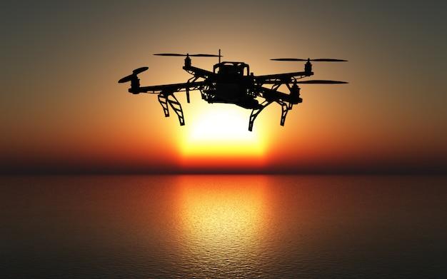 Drone 3d volant au-dessus d'une mer au coucher du soleil