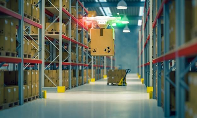 Drone au travail dans un entrepôt