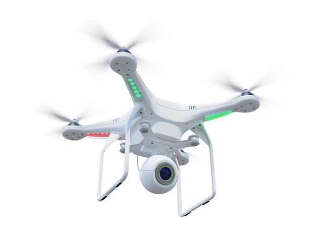 Drone blanc, quadrocopter, avec appareil photo volant dans le ciel bleu. concept