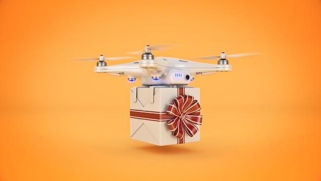 Drone avec le concept de livraison de cadeaux rendu 3d