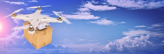 Drone livrant un package rendu 3d