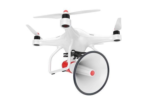 Drone avec mégaphone bullhorn sur fond blanc. rendu 3d