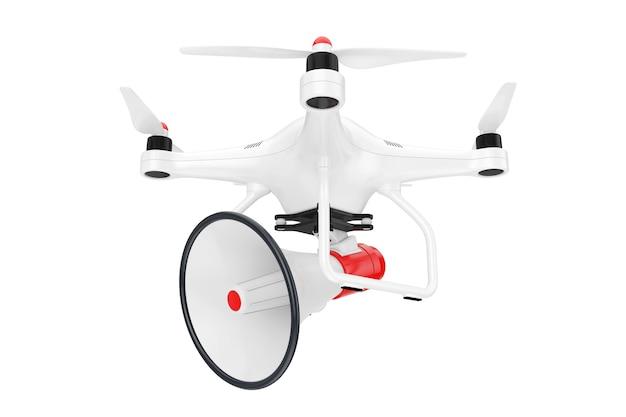 Drone avec mégaphone sur fond blanc. rendu 3d