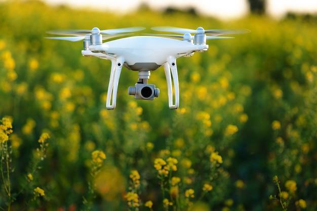 Drone quad copter sur champ jaune