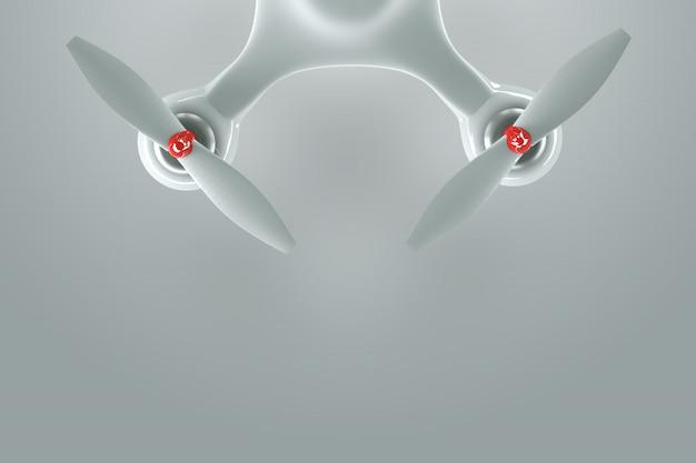 Drone, quadricoptère blanc sur fond blanc avec espace de copie