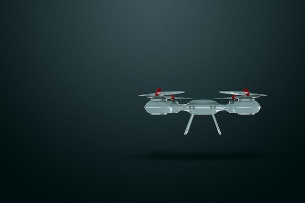 Drone, quadricoptère blanc sur fond sombre avec espace de copie
