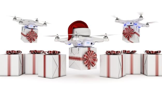Drones avec chapeau de père noël offrant des cadeaux de noël rendu 3d