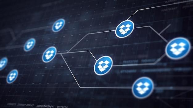 Dropbox icon line icon connexion de la carte de circuit